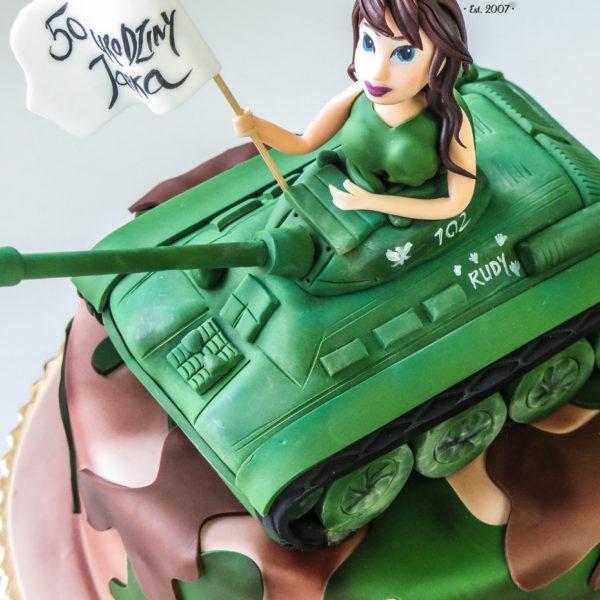 U374 - tort urodzinowy, na urodziny, 50, męski, artystyczny, czołg, warszawa