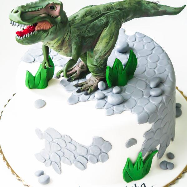U375 - tort urodzinowy, na urodziny, dla dzieci, artystyczny, dinozaur, warszawa, z dostawą,