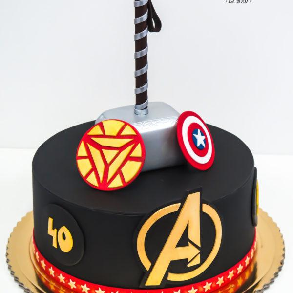 U378 - tort urodzinowy, na urodziny, artystyczny, avengers, super bohaterowie, kapitan ameryka, hulk, thor, ironman, warszawa, z dostawą, marvel,