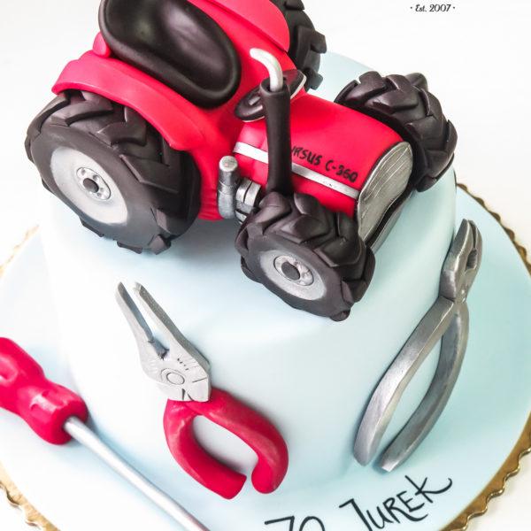 U384 - tort urodzinowy, na urodziny, artystyczny, traktor, męski, dla mechanika, hobby, pasja, narzędzia