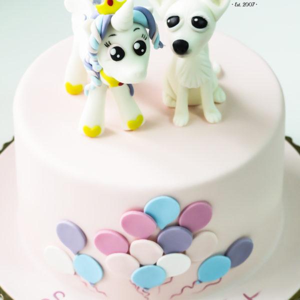 U398 - tort urodzinowy, na urodziny, dla dzieci, artystyczny, jednorożec, piesek, warszawa