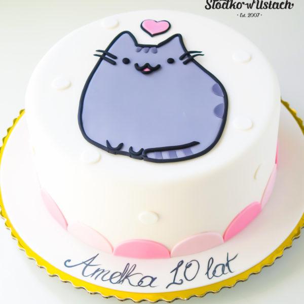 U398 - tort urodzinowy, na urodziny, dla dzieci, artystyczny, pusheen, warszawa