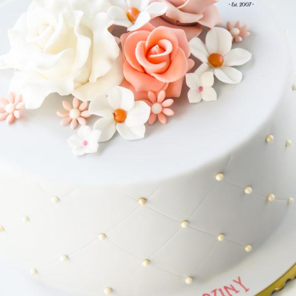 U399 - tort urodzinowy, na urodziny, artystyczny, z kwiatami, elegancki, z różami
