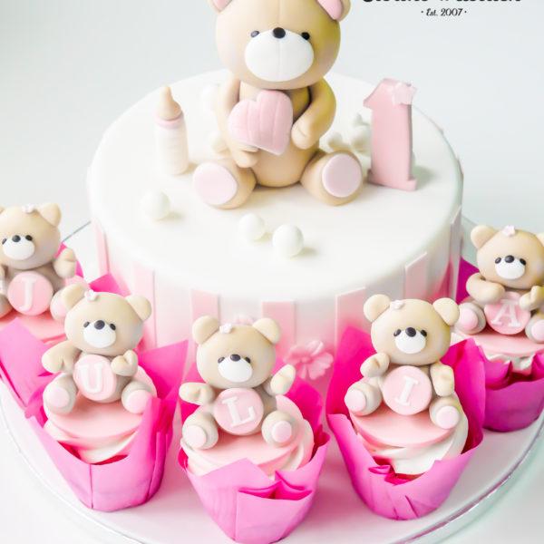 U402 - tort urodzinowy, na urodziny, dla dzieci, artystyczny, roczek, pierwsze urodziny, z misiem, warszawa, z dostawą,