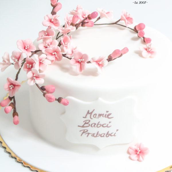 U404 - tort urodzinowy, na urodziny, artystyczny, z kwiatami, elegancki, z kwiatami wiśni