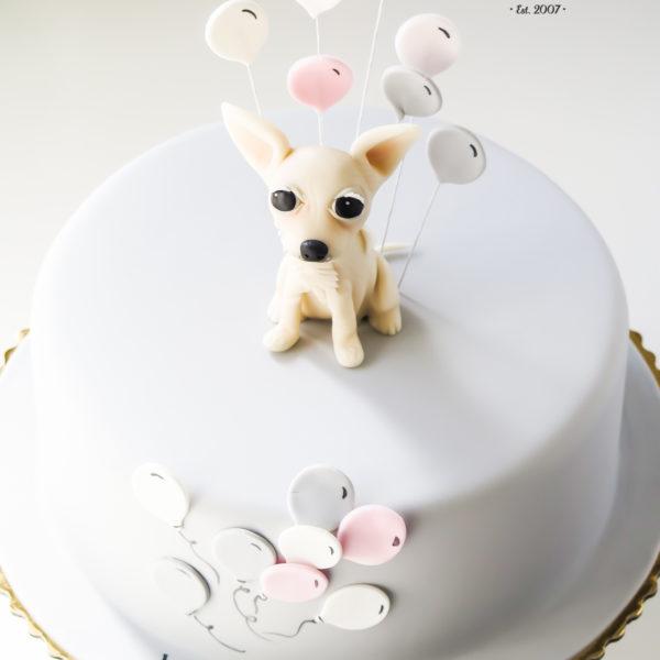 U408 - tort urodzinowy, na urodziny, dla dzieci, artystyczny, piesek, chihuahua, warszawa