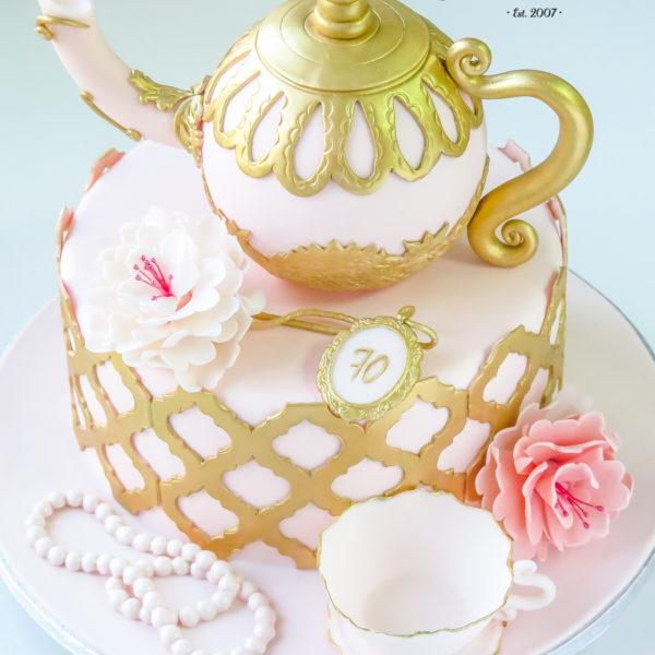 U411 - tort urodzinowy, na urodziny, filiżanka, imryczek, złocony, z kwiatami, artystyczny, warszawa, z dostawą, prezent, perły