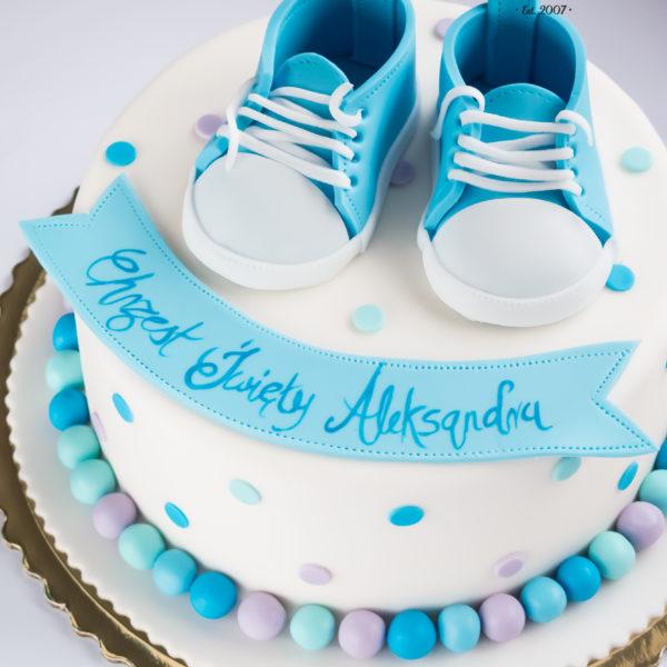 KCH65 - tort na chrzciny, chrzest, dla chłopca, buciki, warszawa, konstancin jeziorna, piaseczno