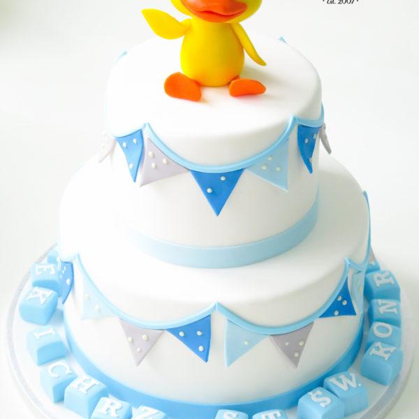 KCH67 - tort na chrzciny, chrzest, dla chłopca, kaczuszka, warszawa, konstancin jeziorna, piaseczno
