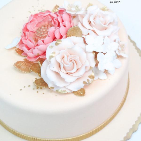 U412 - tort urodzinowy, na urodziny, artystyczny, z kwiatami, elegancki, z różami