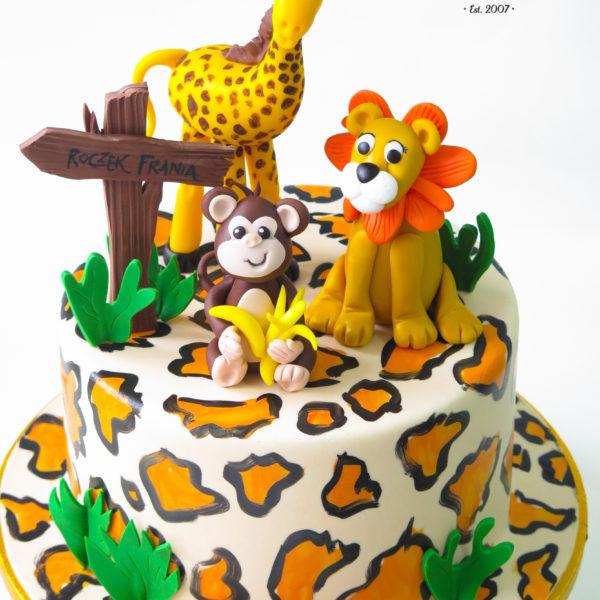 U414 - tort urodzinowy, na urodziny, dla dzieci, safari, artystyczny, zwierzątka