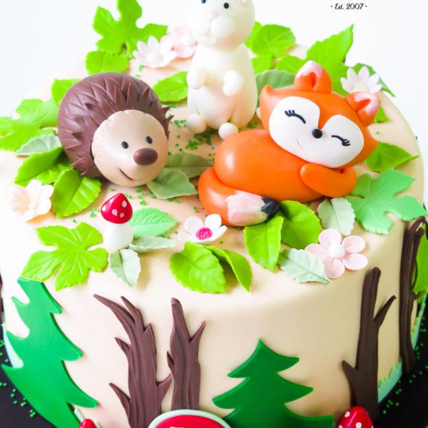 U418 - tort urodzinowy, na urodziny, dla dzieci, las, artystyczny, zwierzątka, leśne