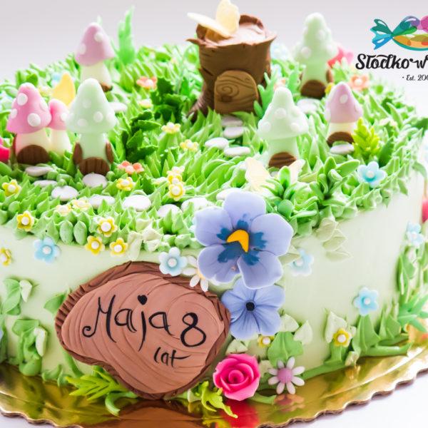 U421 - tort urodzinowy, na urodziny, dla dzieci, artystyczny, zaczarowany las, ogród