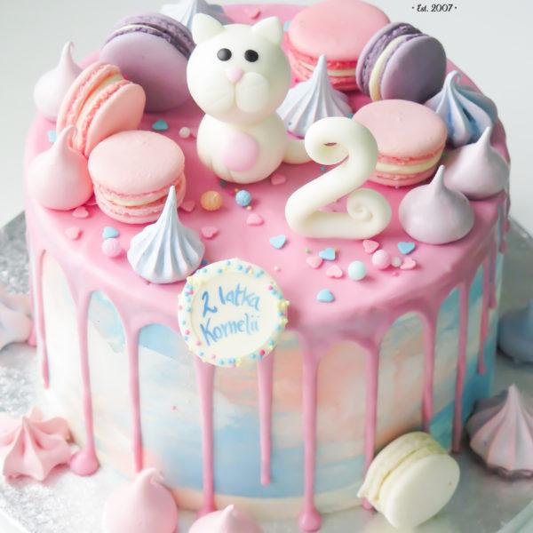 U423 - tort urodzinowy, na urodziny, dla dzieci, artystyczny, z kotkiem, warszawa, z dostawą,