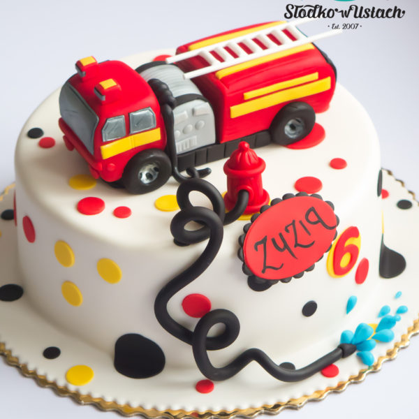 U434 - tort urodzinowy, na urodziny, dla dzieci, artystyczny, straż pożarna, wóz strażacki, warszawa,