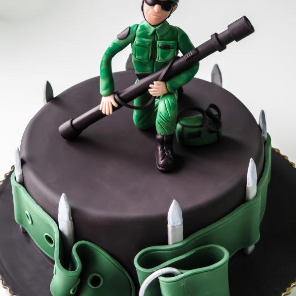 U441 - tort urodzinowy, na urodziny, żołnierz, męski, artystyczny, warszawa