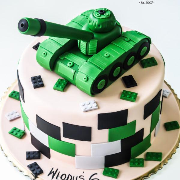 U444 - tort urodzinowy, na urodziny, czołg, męski, lego, artystyczny, warszawa