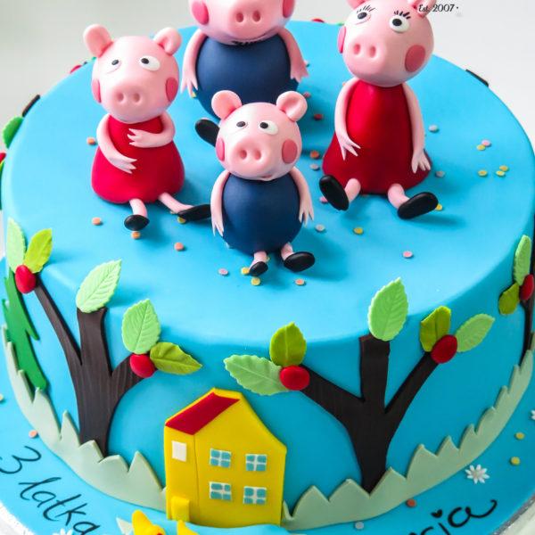 U449 - tort urodzinowy, na urodziny, dla dzieci, artystyczny, świnka peppa, george, warszawa