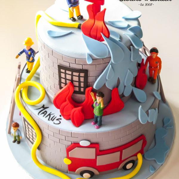 U453 - tort urodzinowy, na urodziny, dla dzieci, artystyczny, strażak sam, straż pożarna, wóz strażacki, warszawa, strażacki