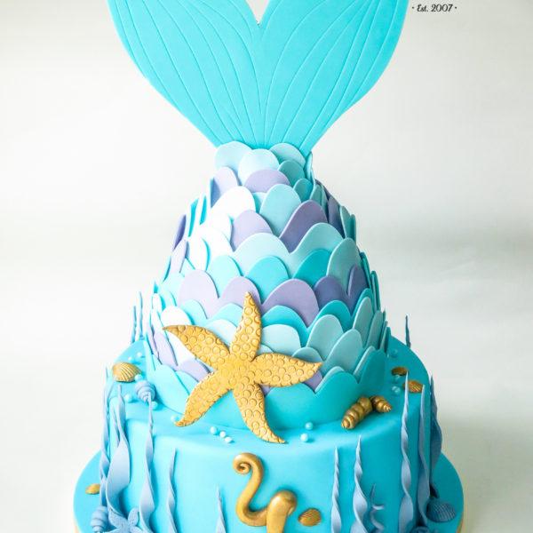 U456 - tort urodzinowy, na urodziny, dla dzieci, artystyczny, syrenka, z ogonem syrenki, warszawa, z dostawą,
