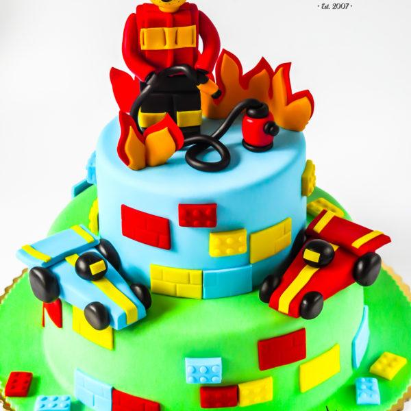 U463 - tort urodzinowy, na urodziny, dla dzieci, artystyczny, straż pożarna, lego, warszawa,