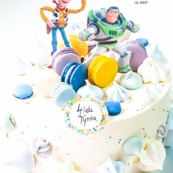 K43 - tort, z figurką, toy story, z bezami,, bezy, bez masy cukrowej, makaroniki, urodzinowy, warszawa, z dostawą,