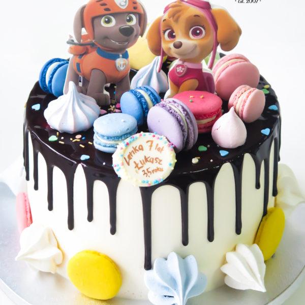 K44 - tort, drip, cake, z figurką, psi patrol, z bezami,, bezy, bez masy cukrowej, makaroniki, urodzinowy, warszawa, z dostawą,