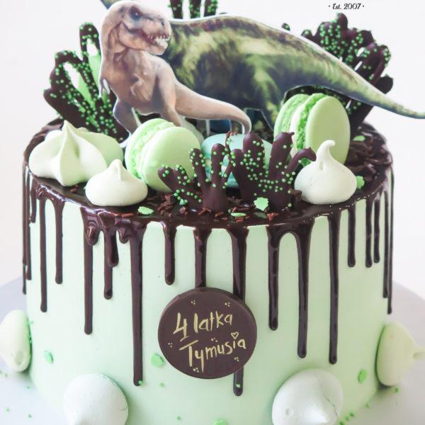 K47 - tort, drip, cake, z figurką, dinozaur, z bezami,, bezy, bez masy cukrowej, makaroniki, urodzinowy, warszawa, z dostawą,