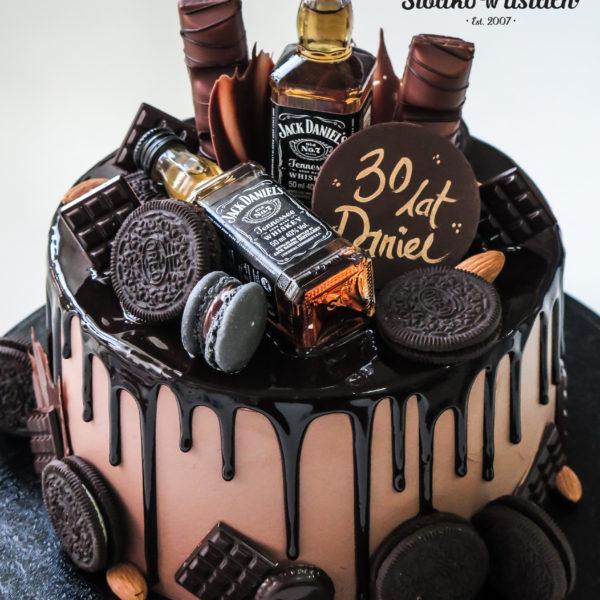 K48 - tort, drip, cake, bez masy cukrowej, męski, dla faceta, jack daniels, urodzinowy, warszawa, z dostawą, birthday, oblewany, z polewą, czekolada