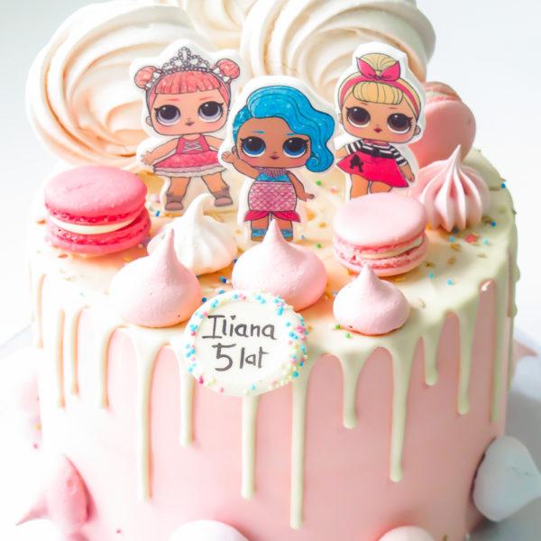 K49 - tort, drip, cake, z figurką, laleczki, lol surprise, z bezami,, bezy, bez masy cukrowej, makaroniki, urodzinowy, warszawa, z dostawą,