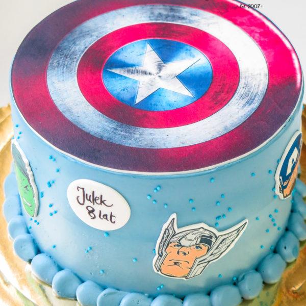 K53 - tort, klasyczny, kapitan ameryka, avengers, ze zdjęciem, z wydrukiem, warszawa, z dostawą, urodzinowy, bez masy cukrowej,