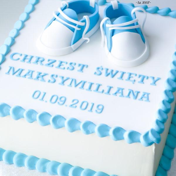 KCH68 - tort na chrzciny, chrzest, dla chłopca, buciki, warszawa, konstancin jeziorna, piaseczno