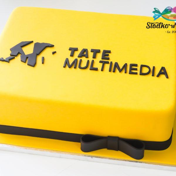 F172 - tort firmowy, artystyczny, jubileusz, dla firm, tate multimedia, słodycze firmowe, reklamowe, personalizowane, warszawa, z logo, event, tort z dostawą, transportem warszawa, piaseczno, konstancin jeziorna, góra kalwaria, polska