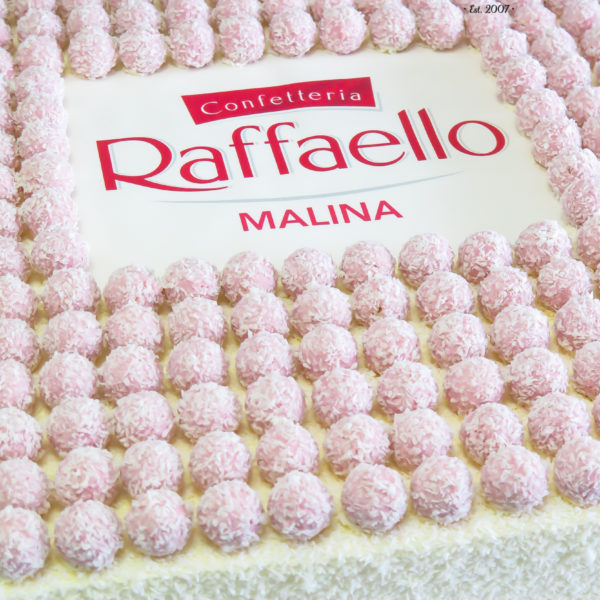 F181 - tort firmowy, klasyczny, dla firm, raffaello, ferrero, słodycze firmowe, reklamowe, personalizowane, warszawa, z logo, event, tort z dostawą, transportem warszawa, piaseczno, konstancin jeziorna, góra kalwaria