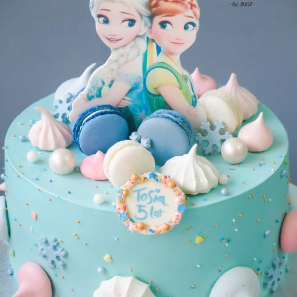 K55 - tort, z figurką, kraina lodu, elsa, z bezami,, bezy, bez masy cukrowej, makaroniki, urodzinowy, warszawa, z dostawą, tort z transportem warszawa, piaseczno, konstancin jeziorna, góra kalwaria