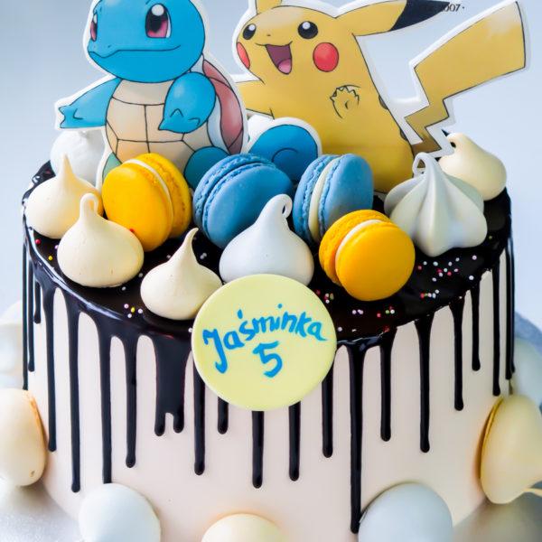 K56 - tort, drip, cake, z figurką, pokemon, pikachu, z bezami, bezy, bez masy cukrowej, makaroniki, urodzinowy, warszawa, z dostawą, tort z transportem warszawa, piaseczno, konstancin jeziorna, góra kalwaria