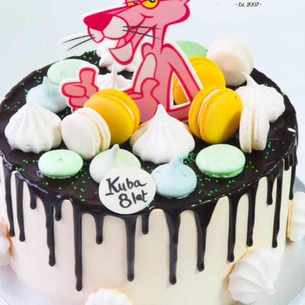 K61 - tort, drip, cake, z figurką, różowa pantera, z bezami, bezy, bez masy cukrowej, makaroniki, urodzinowy, warszawa, z dostawą, tort z transportem warszawa, piaseczno, konstancin jeziorna, góra kalwaria
