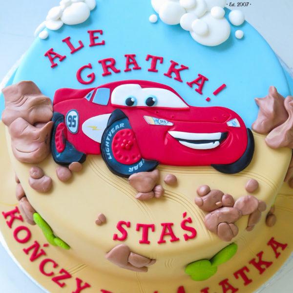 U244 - tort urodzinowy, na urodziny, dla dzieci, artystyczny, auta, cars, zygzak, mcqueen, tort z dostawą, transportem warszawa, piaseczno, konstancin jeziorna, góra kalwaria, polska