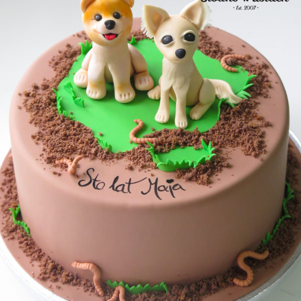U467 - tort urodzinowy, na urodziny, dla dzieci, artystyczny, pieski, tort z dostawą, transportem warszawa, piaseczno, konstancin jeziorna, góra kalwaria, polska
