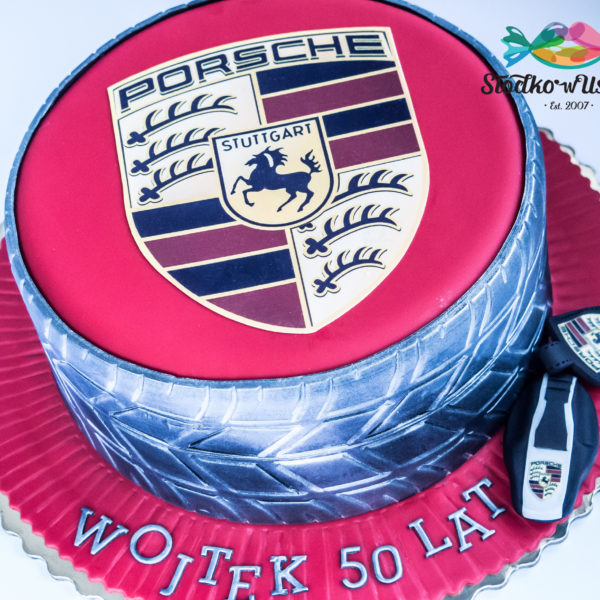 U473 - tort urodzinowy, na urodziny, dla dzieci, artystyczny, porsche , opona, dla faceta, męski, tort z dostawą, transportem warszawa, piaseczno, konstancin jeziorna, góra kalwaria, polska