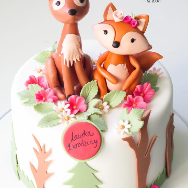 U478 - tort urodzinowy, na urodziny, dla dzieci, artystyczny, las, zwierzątka, na roczek, 1 urodziny, tort z dostawą, transportem warszawa, piaseczno, konstancin jeziorna, góra kalwaria, polska