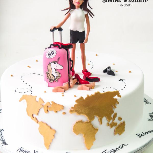 U481 - tort urodzinowy, na urodziny, artystyczny, podróżniczy, travel,, kobiecy, tort z dostawą, transportem warszawa, piaseczno, konstancin jeziorna, góra kalwaria, polska