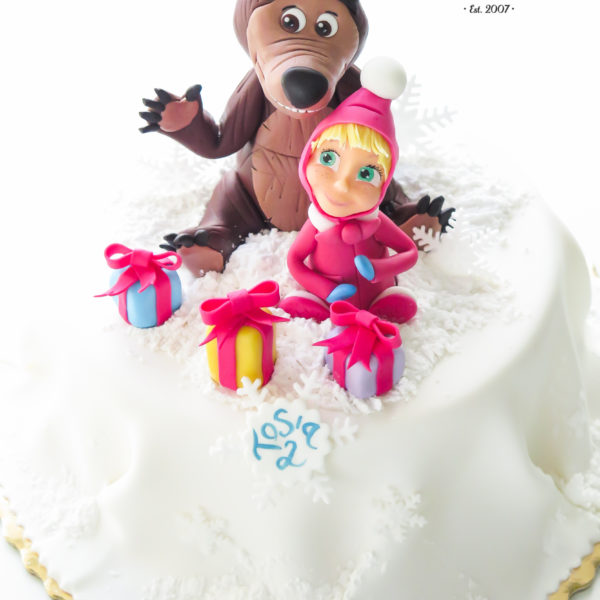 U485 - tort urodzinowy, na urodziny, dla dzieci, artystyczny, masza i niedźwiedź, tort z dostawą, transportem warszawa, piaseczno, konstancin jeziorna, góra kalwaria, polska
