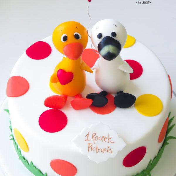 U495 - tort urodzinowy, na urodziny, dla dzieci, artystyczny, zwierzątka, kaczuszka, na roczek, 1 urodziny, tort z dostawą, transportem warszawa, piaseczno, konstancin jeziorna, góra kalwaria, polska