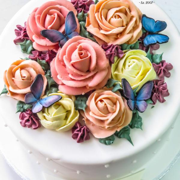 U499 - tort urodzinowy, na urodziny, artystyczny, z kwiatami, kwiaty, kobiecy, tort z dostawą, transportem warszawa, piaseczno, konstancin jeziorna, góra kalwaria, polska