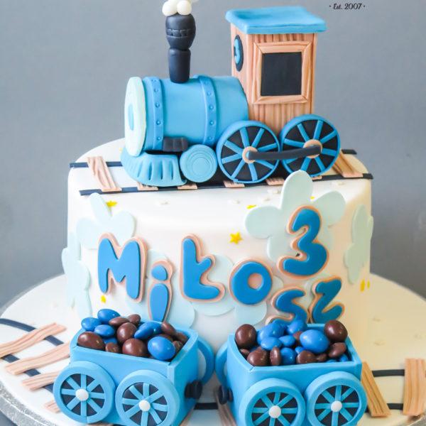 U509 - tort urodzinowy, na urodziny, dla dzieci, artystyczny, ciuchcia, lokomotywa, tort z dostawą, transportem warszawa, piaseczno, konstancin jeziorna, góra kalwaria, polska