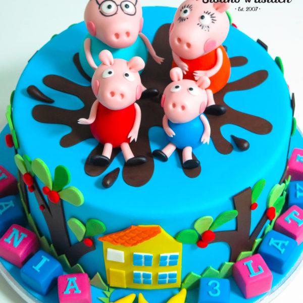 U520 - tort urodzinowy, na urodziny, dla dzieci, artystyczny, świnka peppa, tort z dostawą, transportem warszawa, piaseczno, konstancin jeziorna, góra kalwaria, polska