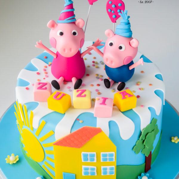 U521 - tort urodzinowy, na urodziny, dla dzieci, artystyczny, świnka peppa, tort z dostawą, transportem warszawa, piaseczno, konstancin jeziorna, góra kalwaria, polska