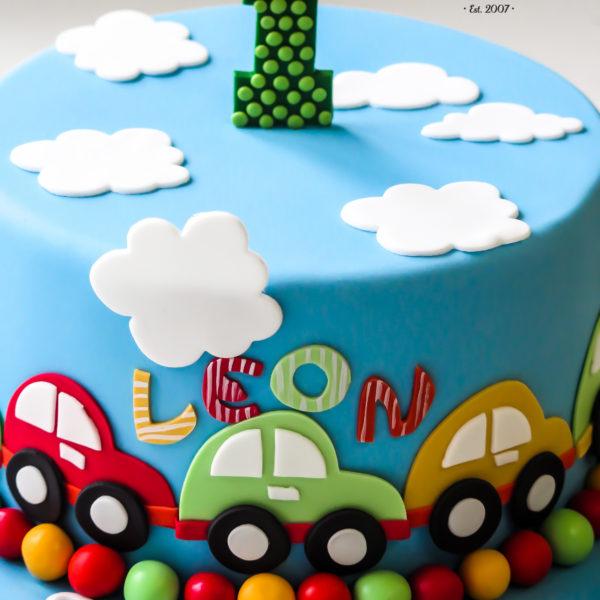 U522 - tort urodzinowy, na urodziny, dla dzieci, artystyczny, auto, samochodziki, na roczek, 1 urodziny, tort z dostawą, transportem warszawa, piaseczno, konstancin jeziorna, góra kalwaria, polska