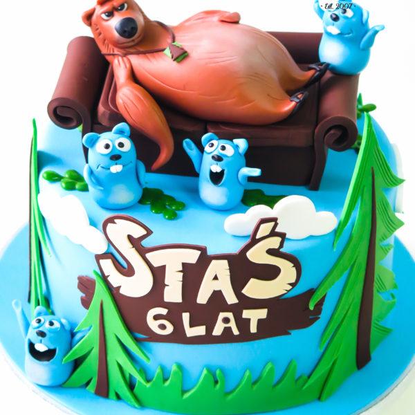 U526 - tort urodzinowy, na urodziny, dla dzieci, artystyczny, grizzy i lemingi, tort z dostawą, transportem warszawa, piaseczno, konstancin jeziorna, góra kalwaria, polska